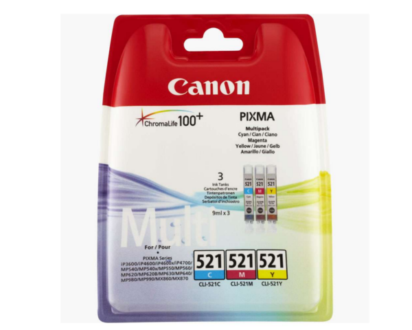 Canon CLI 521 Original Multi Pack. Cyan, Magenta and Yellow